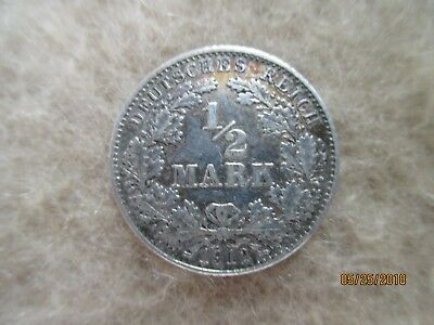 German  Empire ,Germany silver coin 1/2 mark,1912-D,XF