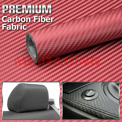 "Red Carbon Fiber Fabric Cloth Marine Vinyl 54"" Wide Plain Weave Upholstery"
