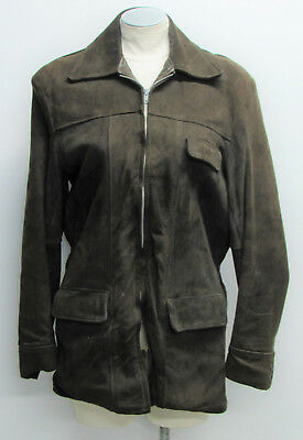 Vtg 40's HERCULES Outerwear by SEARS Brown Suede Leather Full Zip Jacket sz 38
