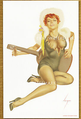 1940's Alberto Vargas Pin-Up Poster Art Print 11x17 Red Head with guitar