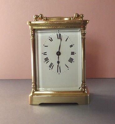 Antique Brass 8 Day Carriage Clock R & Co Paris - Rare Oval Shaped Dial