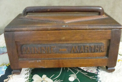 Antique hand carved wooden sewing box