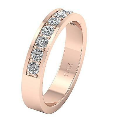 VS1 F 0.90Ct Engagement Wedding Ring Real Diamond 4.40MM 14Kt Rose Gold SZ 4-12