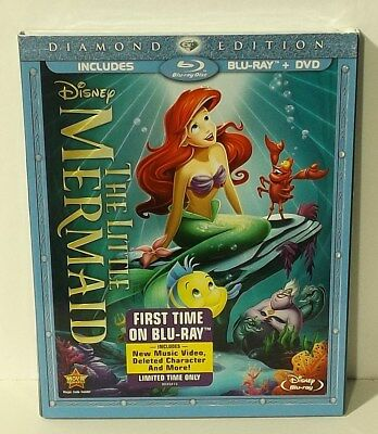 The Little Mermaid DISNEY (Blu-ray/DVD, 2013, 2-Disc Set, Diamond Edition) NEW