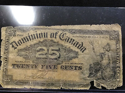 1900 Dominion of Canada 25 Cents Fractional Currency