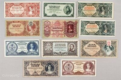 Lot of 11 Hungary Paper Currency Notes in Mixed Grades, 1930-1946 Issue Dates