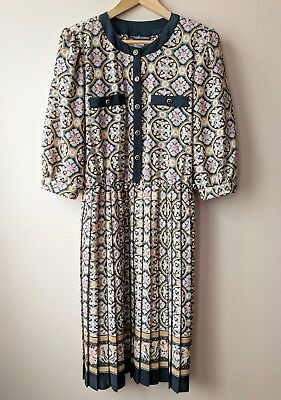 Early 90s patterned vintage dress 18 office executive secretarial