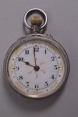 Beautiful Decorative Antique Solid 925 Silver Fob Pocket Watch Ladies 1914 1915
