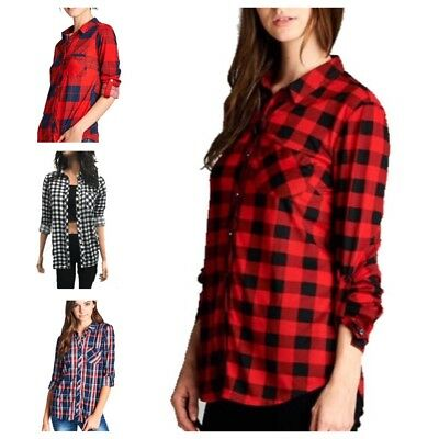 483ee1ad2 Fashion Women Casual Flannel Button Down Plaid Long Sleeve Shirt Tops  Blouse(S-L