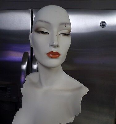 1 Vintage Mannequin Wig Head with metal stand-  White Facing Side *ear chipped