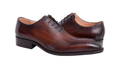 Carrucci Mens Brown Chestnut Whole Cut Oxford Leather Dress Shoes