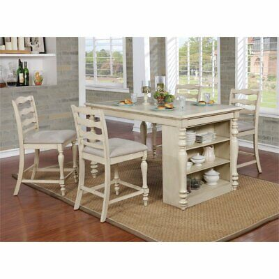 Furniture of America Steph 5 Piece Counter Height Dining Set in White