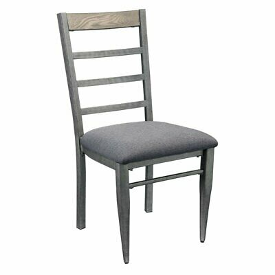 ACME Ornat Dining Side Chair in Gray Fabric and Antique Gray