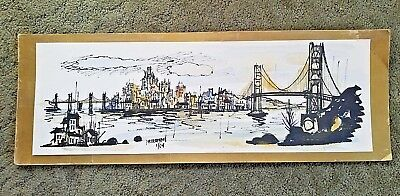Watercolored Etching John Irwin Friedman AKA Partee, San Francisco Bridge 1/64