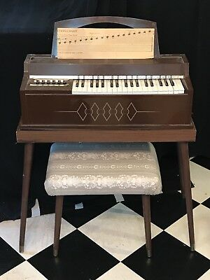 Child's 1960-70s Vintage Magnus Electric Chord Organ with Extras