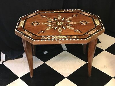 Morocco / Egypt Occasional Table with Inlaid Pattern and Arabic Text