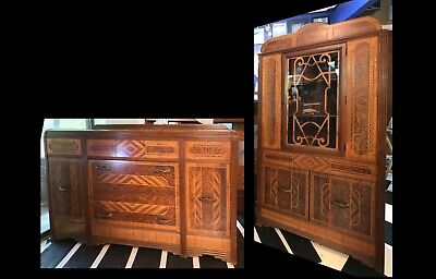 Antique Two piece Art Deco / Nouveau / Transitional Style Dining Cabinets
