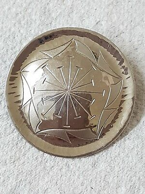 Superb Vintage Moda Malta Hand Made Stainless Steel Engraved Brooch Never Worn