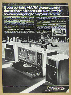 1984 Panasonic Triple Take Portable Stereo Boombox photo vintage print Ad