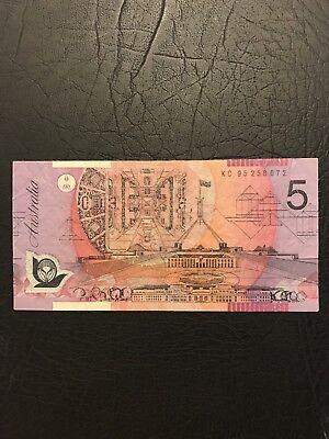 Super Rare KC95 Last Prefix $5 Note thin Bands !