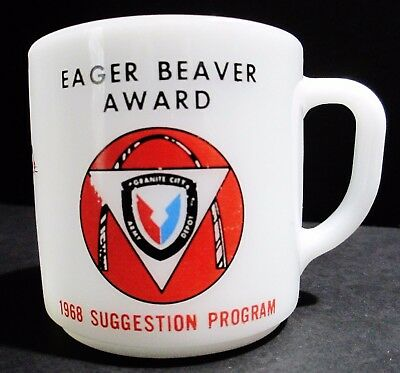 Vtg 1968 Federal Glass Co Coffee Cup Eager Beaver Award Kitchen Drinkware Mug