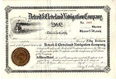 Detroit & Cleveland Navigation Company of Michigan 1909 Stock Certificate