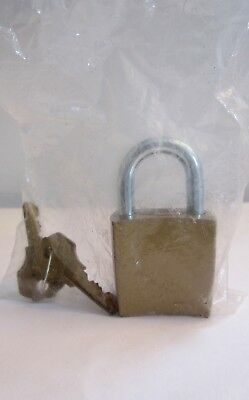 Vintage Square Brass Corbin Lock Padlock with Keys NOS