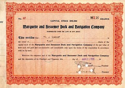 Marquette and Bessemer Dock and Navigation Company of NJ 1930 Stock Certificate