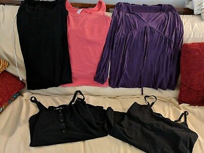 5 item nursing lot shirts / tanks - Bun, Milk, H&M Mama, Gilligan breastfeeding
