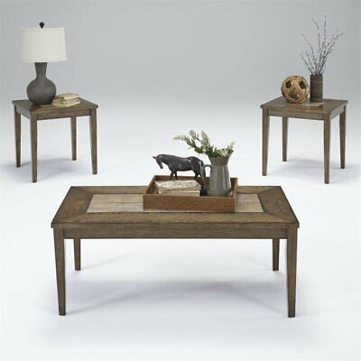 Progressive Forest Brook 3 Piece Coffee Table Set in Ash and Tile