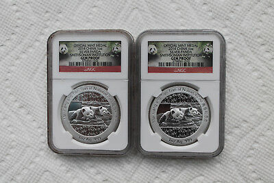 China Official Mint Medal 1oz Silver,from 2014,2 coins, GEM Proof graded by NGC