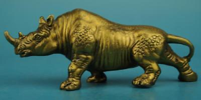 chinese old  Pure copper hand-carved rhinoceros statue d02