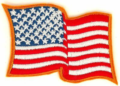 """WAVING US AMERICAN FLAG iron-on BIKER Embroidered 3.25"""" PATCH AWF-1"""