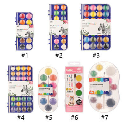 10/12/16/28/36 Colors Solid Watercolor Paints Set Paint Box Painting Supplies TP