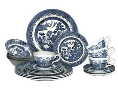 Blue Willow Tea/Dinner Set 20 Piece New By Churchill China Traditional Design