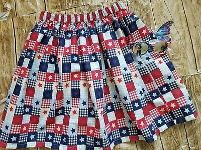 Handmade Patriotic Check Gather Below the knee Skirt 4th of July Skirt w/Glasses