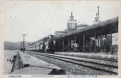 Japan Fusan railway station postcard circa 1915