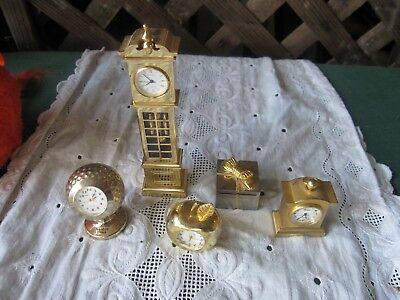 LOT OF FIVE (5) VINTAGE COLLECTIBLE MINIATURE CLOCKS ~ All in working condition