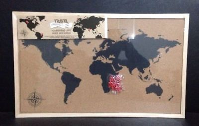 Framed Cork Board World Wall Map Travel Pin Board with Pins
