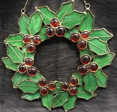"Vintage 10"" Handmade Christmas Wreath Hanging Stained Glass Holly Holiday Decor"