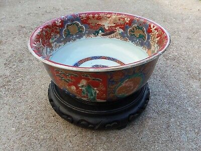 Antique Japanese Imari Painted Porcelain Punch Bowl Imperial Figures Old Rare