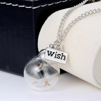 Real Dandelion Seeds Dried In The Glass Bottle Wish Gift Pendant Necklace Charm