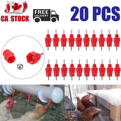20 Pcs Water Nipple Valves Auto Drinker Waterer Feeder Poultry Chicken Duck Bird