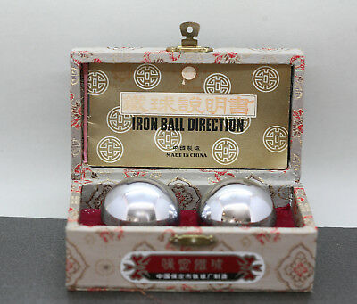 Vintage Chinese Stainless Steel Exercise Spheres In Silk Brocade Box