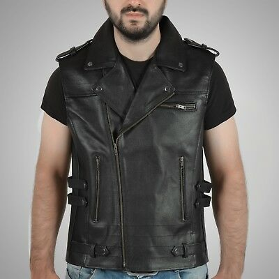 Men's genuine leather black vintage waistcoat biker vest retro style motorcycle