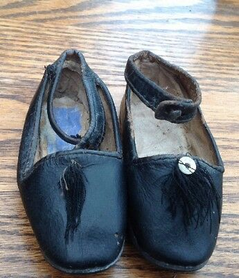 Antique Victorian child baby doll leather button shoes Black - Tassels A/F 12cms