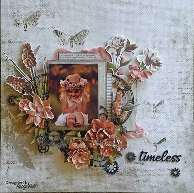 "Handmade Pre-made Mixed Media 12"" x 12"" Scrapbook Page Layout - Timeless"