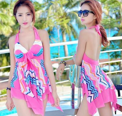 Spring-Bath swimsuit SwimDRESS with padded bra+shorts Wave printed  1523
