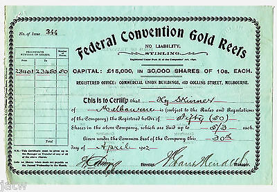 Share Scrip - Mining. 1902 Federal Convention Gold Reefs - Stirling (Gippsland)