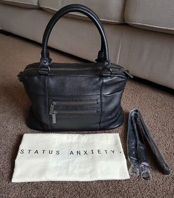 Status Anxiety The Wanderer black leather tote / shoulder / cross body bag